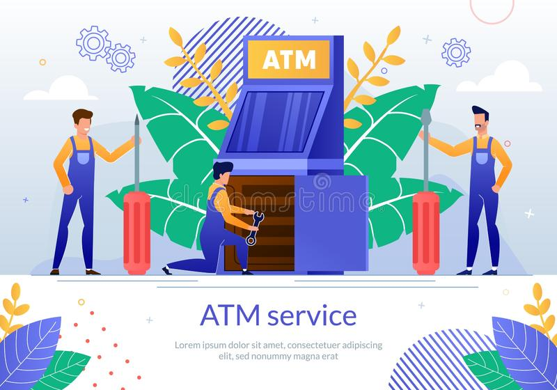 Bank ATM Repair Service Vector Poster Template. Bank ATM Repair Service Flat Vector Banner Template with Servicemen or Repairman in Uniform, Making Diagnostics stock illustration