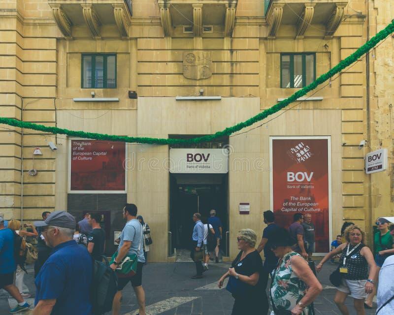 Bank av den Valletta filialen på republikgatan Valletta arkivfoto