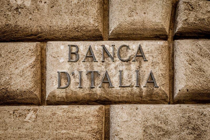 Bank av Italien text royaltyfri fotografi