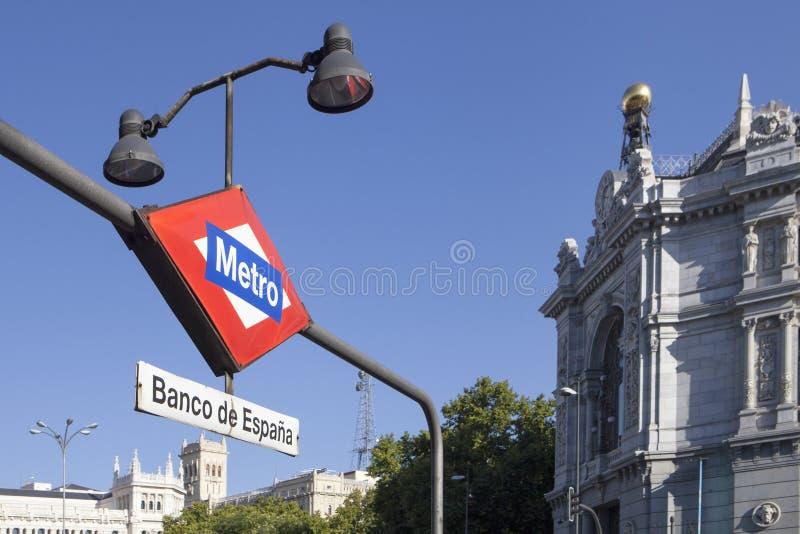 Bank av Spanien i den Madrid staden arkivbilder