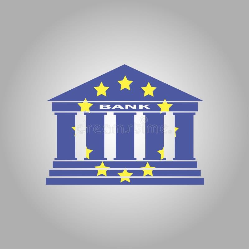 Bank błękit coloured ikonę na popielatym tle ilustracja wektor
