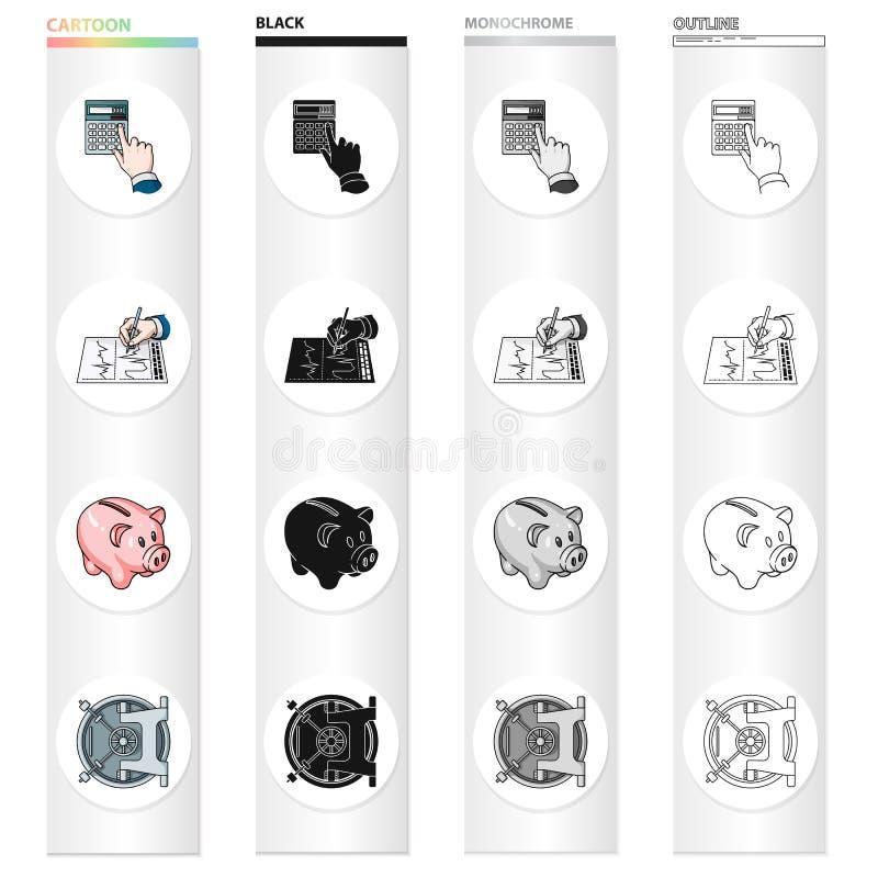 Bank, bankier, attributen en ander Webpictogram in beeldverhaalstijl Slot, brandkast, veiligheidspictogrammen in vastgestelde inz royalty-vrije illustratie
