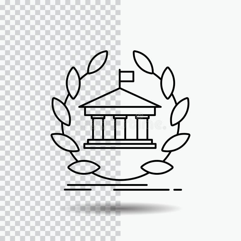 Bank, Bankwesen, on-line, Universität, Gebäude, Ausbildung Linie Ikone auf transparentem Hintergrund Schwarze Ikonenvektorillustr lizenzfreie abbildung