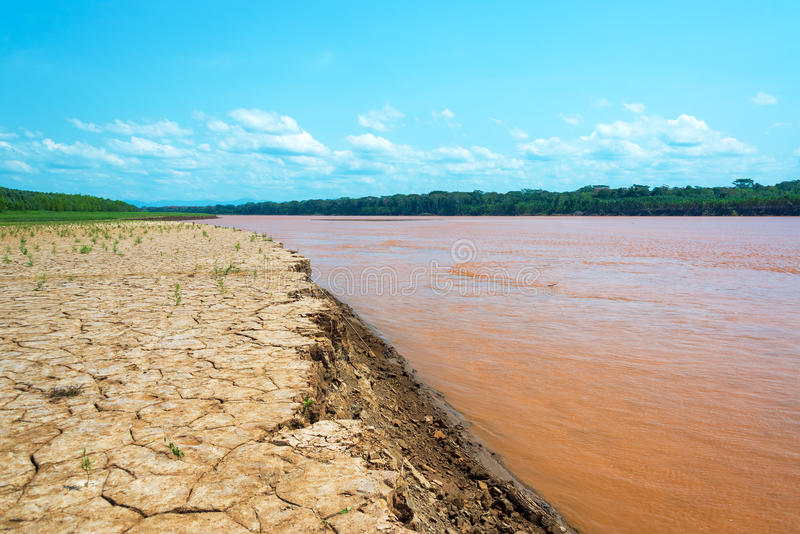 Bank of the Beni River. Dry cracked earth at the bank of the Beni River in the Amazon rain forest in Bolivia stock photo