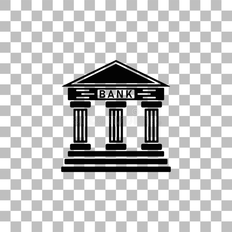 Bank icon flat royalty free illustration