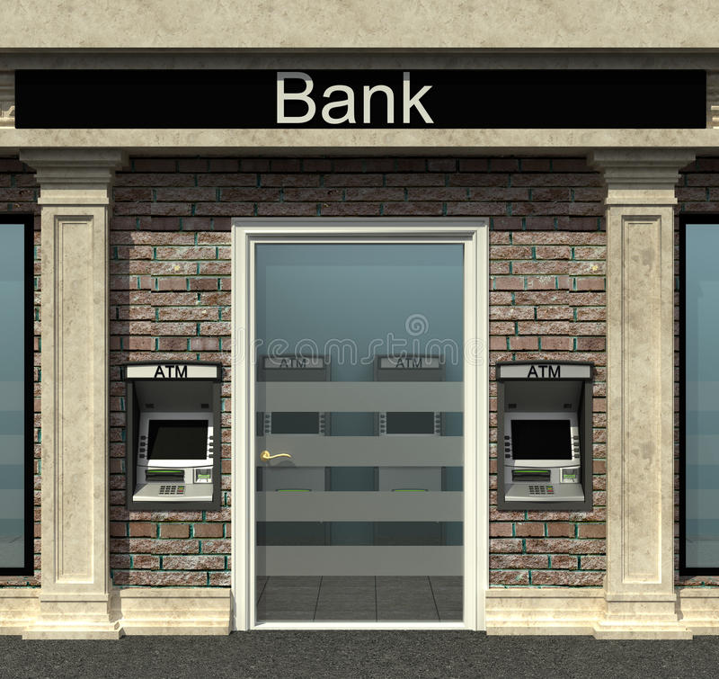 Bank branch with automated teller machine. Facade of a bank branch with automated teller machine stock illustration