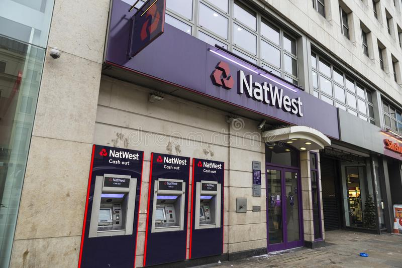 Bank branch of Natwest Bank in London, England, United Kingdom royalty free stock photos