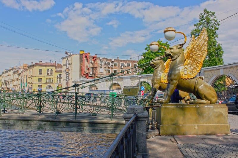 Bank Bridge in Saint Petersburg, Russia. HDR royalty free stock photography