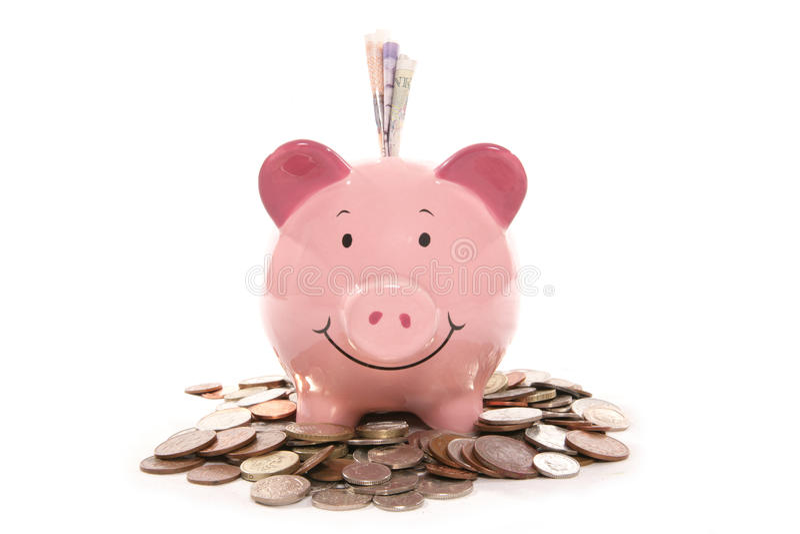 bank brittiska piggy valutapengar royaltyfri bild
