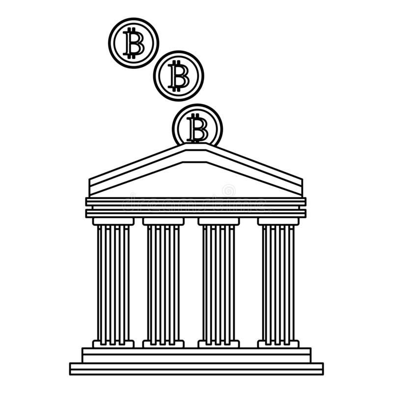 Bank buiding with cryptocurrency black and white. Bank buiding with cryptocurrency icon cartoon bitcoin black and white vector illustration graphic design royalty free illustration