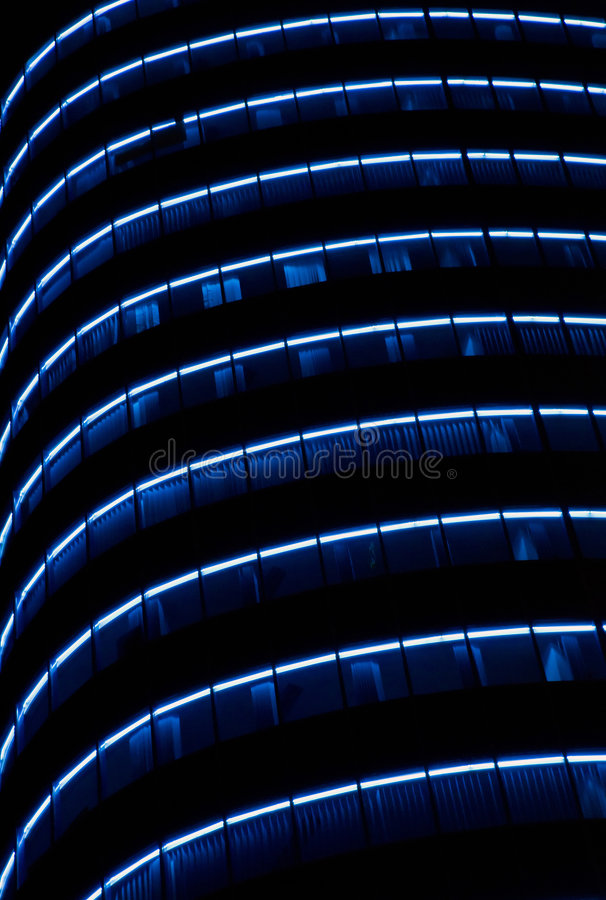 Bank building. Architecture datail - office building at night with blue light royalty free stock photos