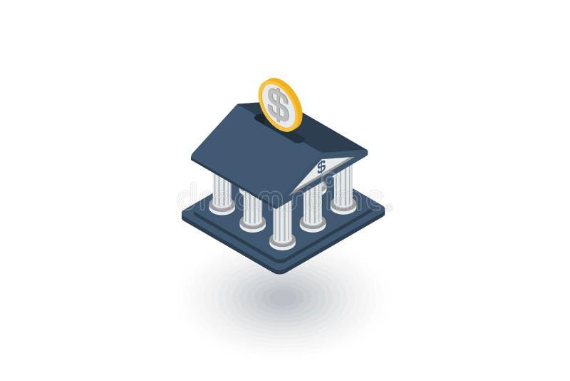 Bank building, finance, money savings isometric flat icon. 3d vector stock illustration