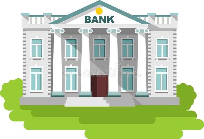 Bank building in flat style royalty free illustration