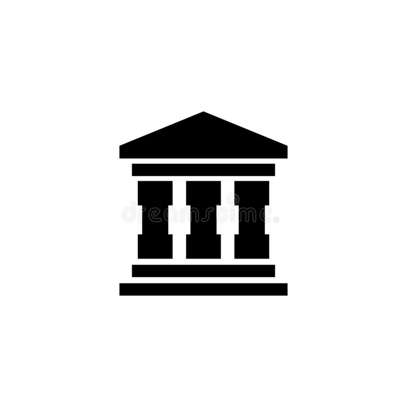Bank Building Vector Icon. Bank Building. Flat Vector Icon illustration. Simple black symbol on white background. Bank Building sign design template for web and stock illustration