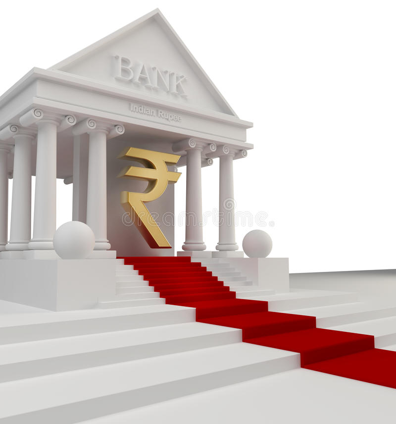 Download Bank Building With A Gold Symbol Stock Illustration - Image: 22420273