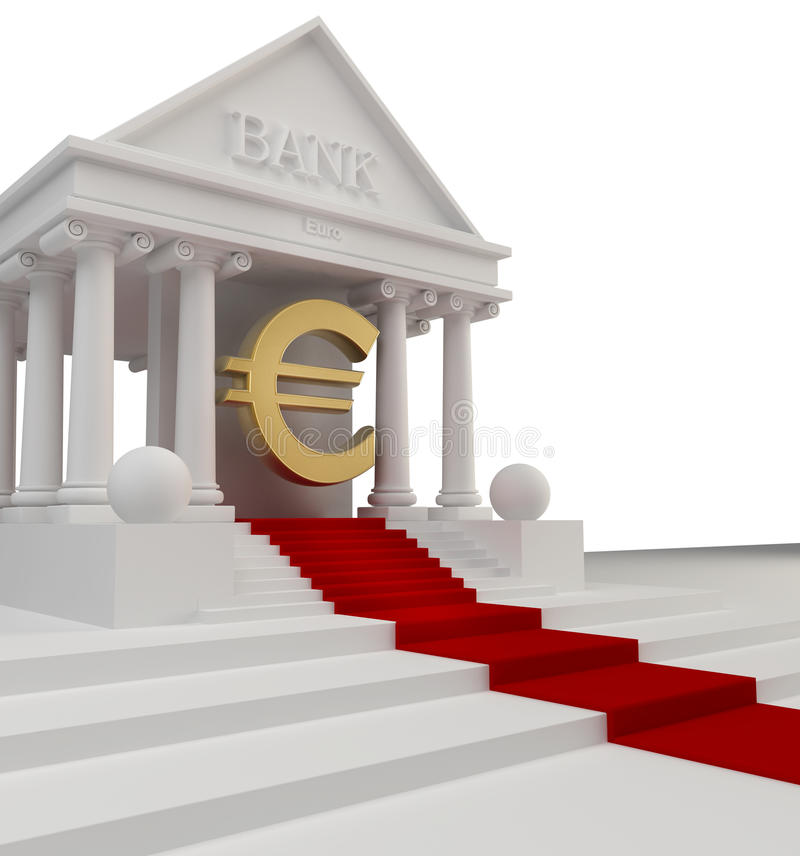 Bank Building With A Gold Symbol Stock Images