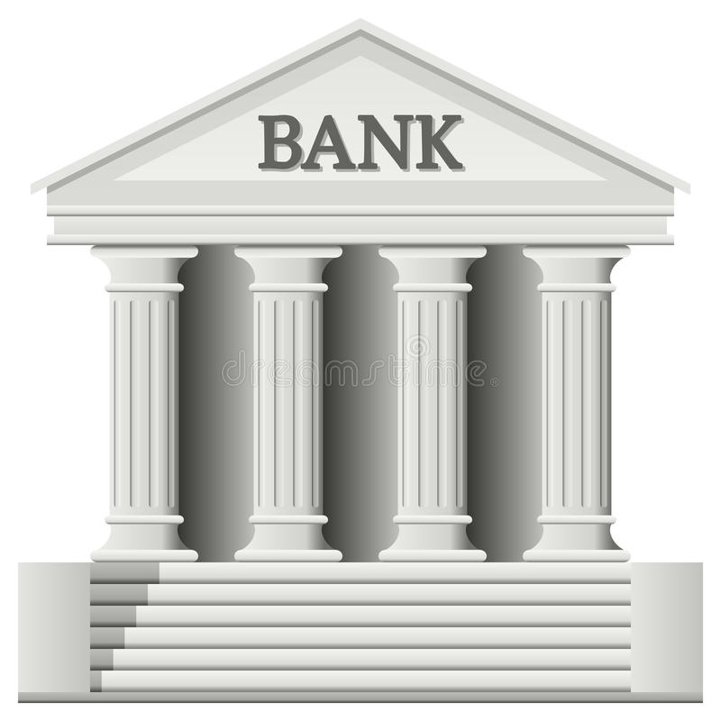 Bank Building Icon. In a classic greek temple style, isolated on white background. Eps file available vector illustration