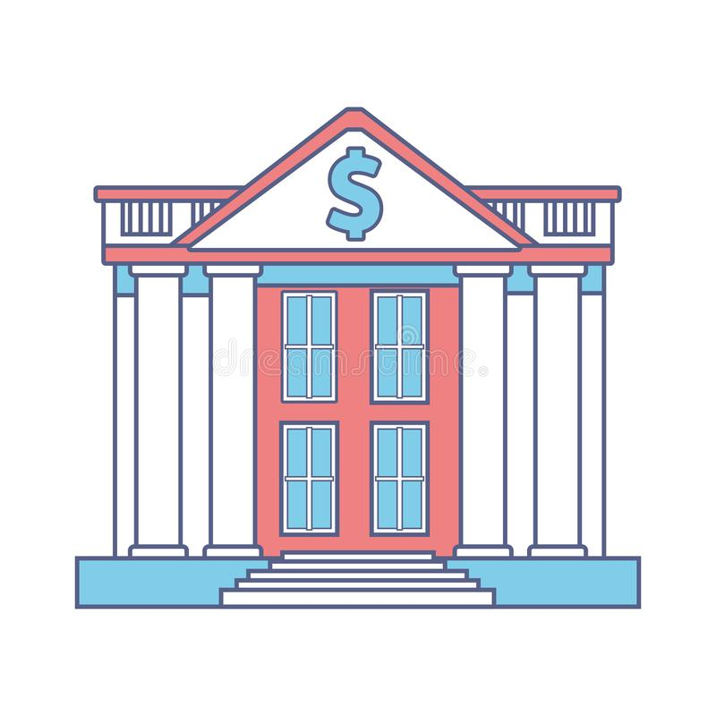 Bank building icon. Isolated colorful in white background vector illustration graphic design royalty free illustration