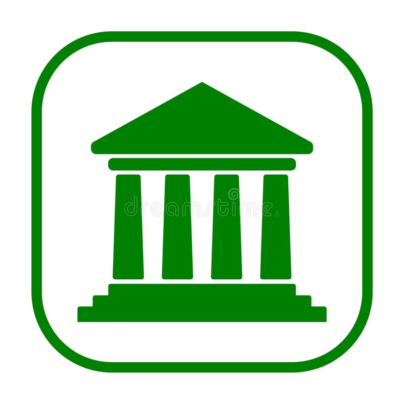 Bank building icon, Court building icon. Icon royalty free illustration