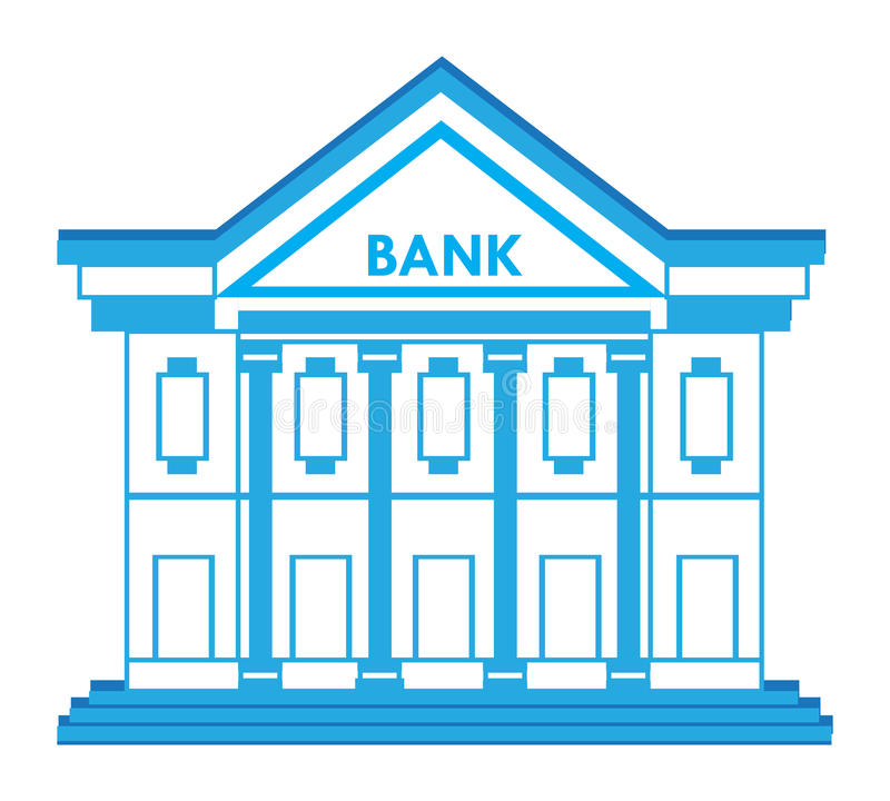 Bank Building Icon. Unique Bank building icon in blue colors. An additional Vector .Eps file available. (you can use elements separately stock illustration