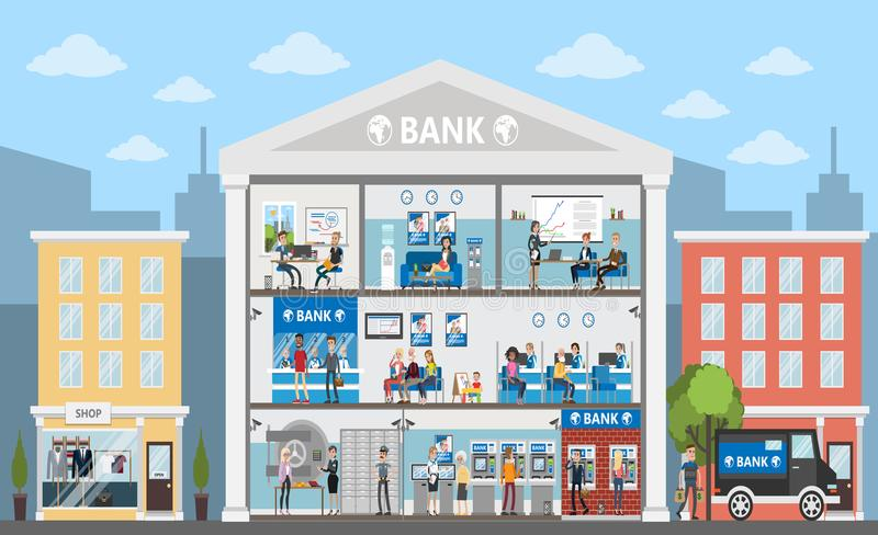 Bank building interior. royalty free illustration