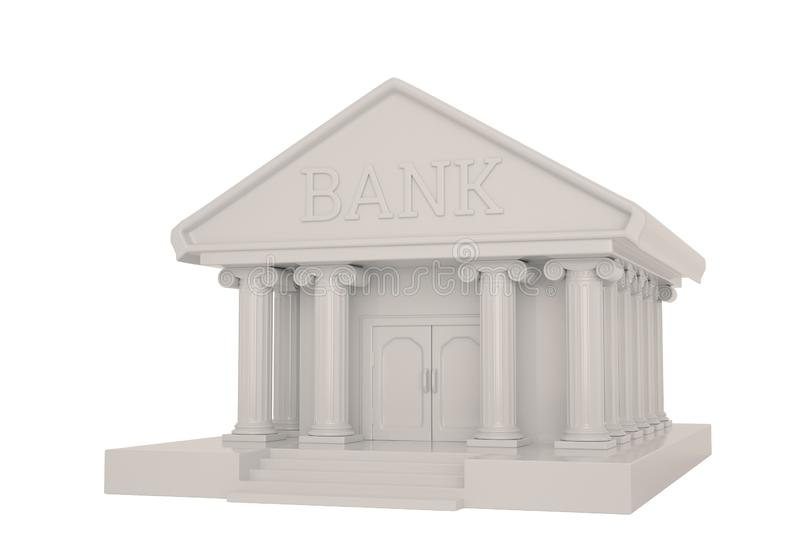 A bank building isolated on white background 3D illustration.  vector illustration