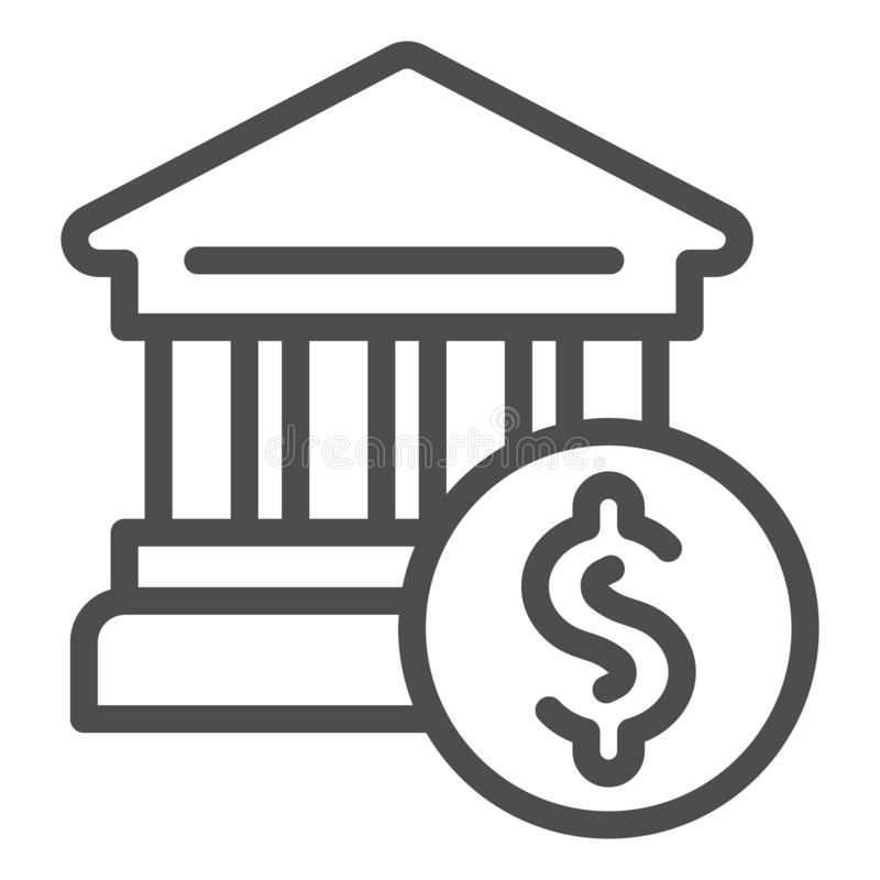 Bank building line icon. Bank and dollar vector illustration isolated on white. Architecture outline style design royalty free illustration