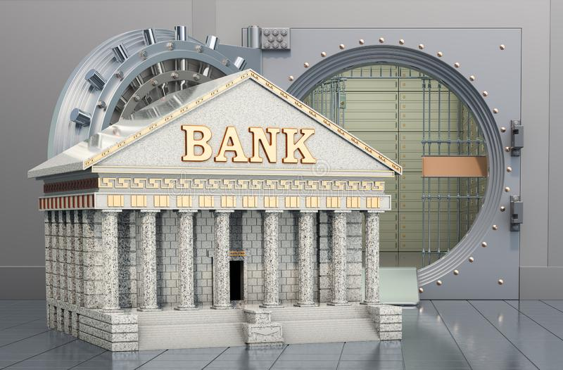 Bank building with opened bank vault. Financial calendar concept, 3D rendering. Bank building with opened bank vault. Financial calendar concept, 3D stock illustration