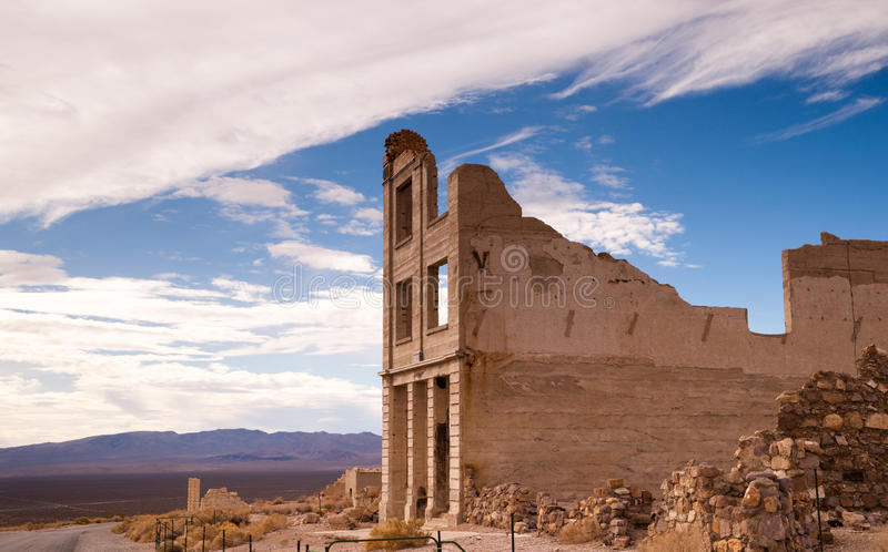 Bank Building Ruins of Rhyolite Nevada Death Valley Ghost Town. There were over 2000 claims covering everything in a 30 mile area from the Bullfrog district. The stock image