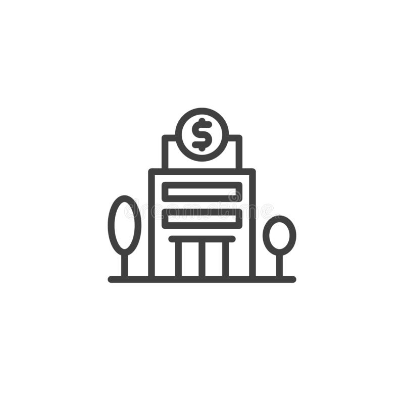 Bank building and trees line icon. Linear style sign for mobile concept and web design. Currency Exchange Building outline vector icon. Symbol, logo stock illustration