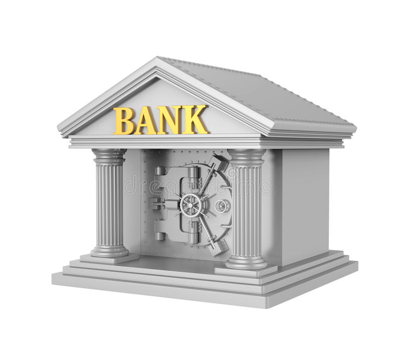 Bank Building with Vault Door Isolated stock illustration