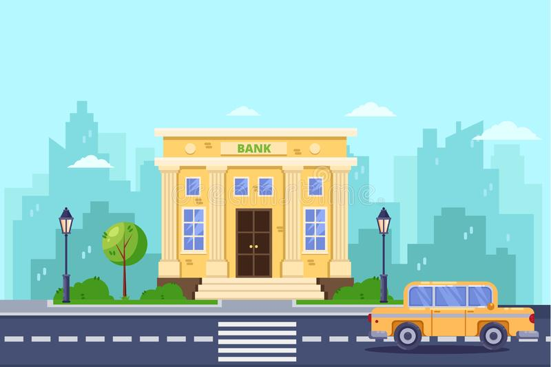 Bank building, vector flat illustration. Banking and financial service. City street, urban landscape background royalty free illustration