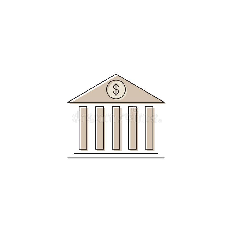 Bank building vector icon symbol isolated on white background vector illustration