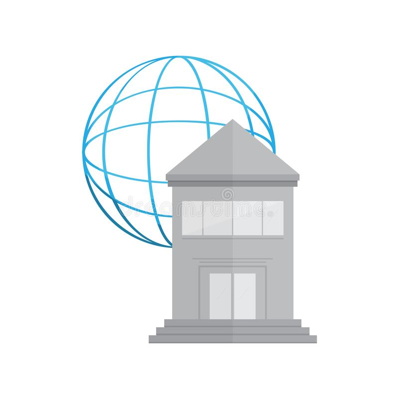 Bank building with a web icon. Vector illustration design stock illustration