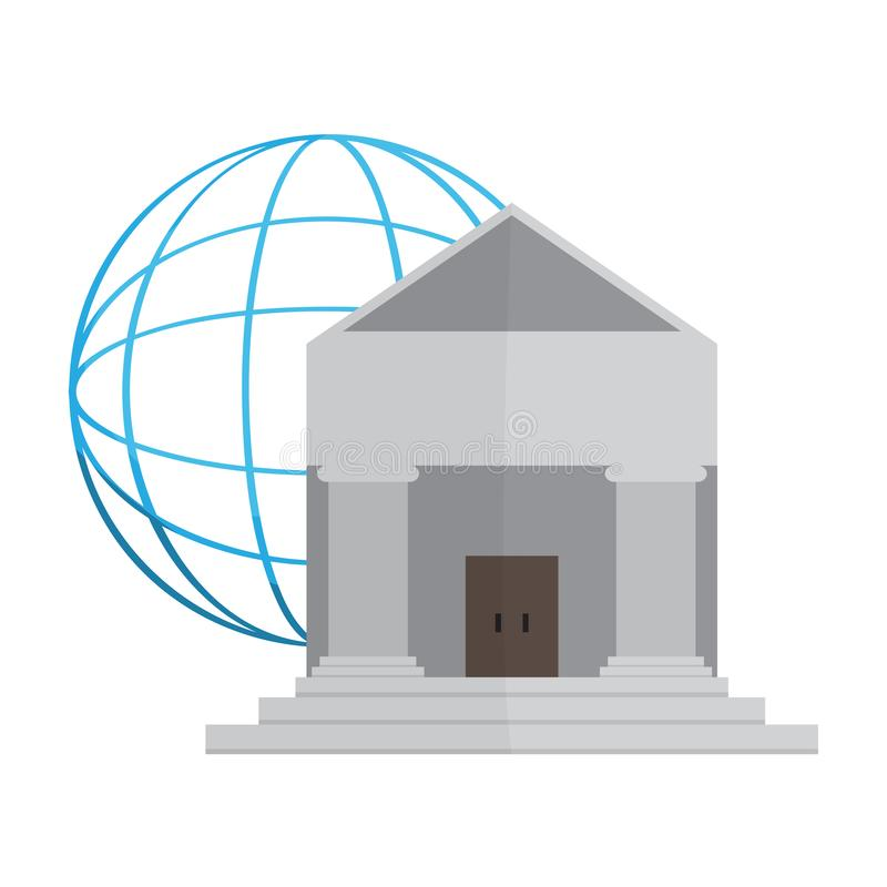 Bank building with a web icon. Vector illustration design vector illustration