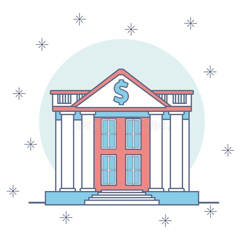 Bank buildings cartoon. Concept on pastel colors vector illustration graphic design vector illustration
