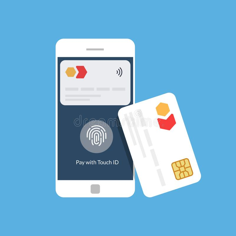 Bank card and mobile payment. Near Field Communication. NFC. Flat vector illustration vector illustration