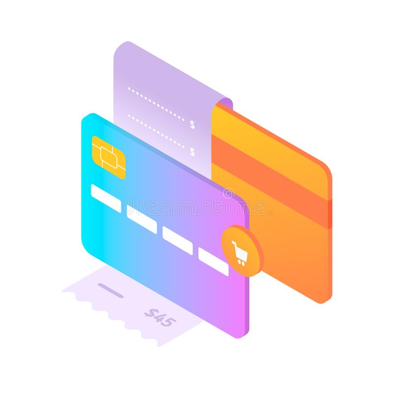 Bank cards and fiscal receipt. Concept of online shopping. Front and back views of card. Cart icon. Isometric style stock illustration