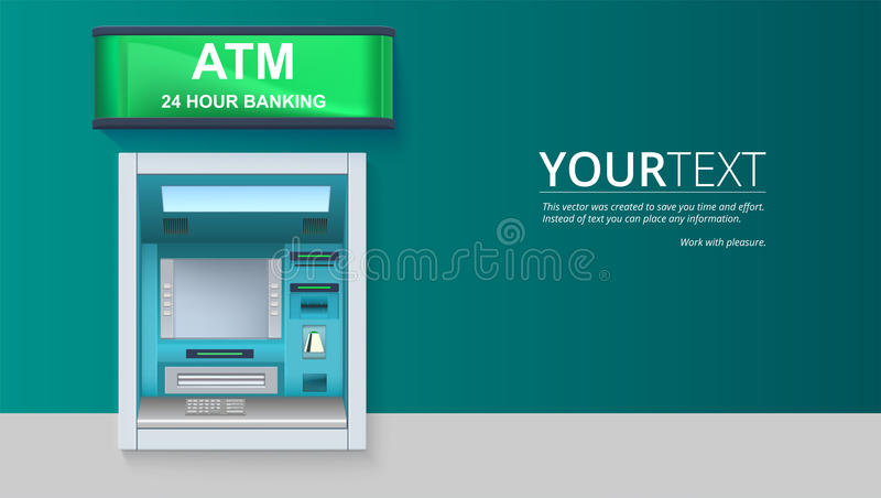 Bank Cash Machine. ATM - Automated teller machine with blank screen and carefully drawn details on white backdrop. Template for flyers, cover, presentation or vector illustration