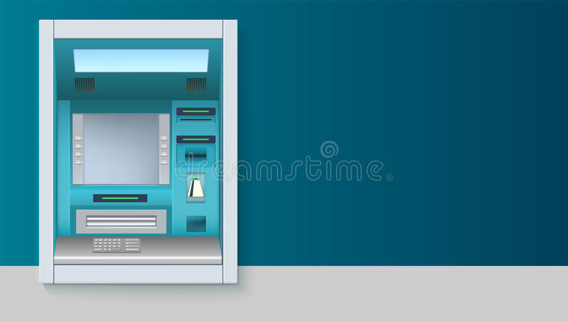 Bank Cash Machine. ATM - Automated teller machine with blank screen and carefully drawn details on white backdrop. Template for flyers, cover, presentation or stock illustration