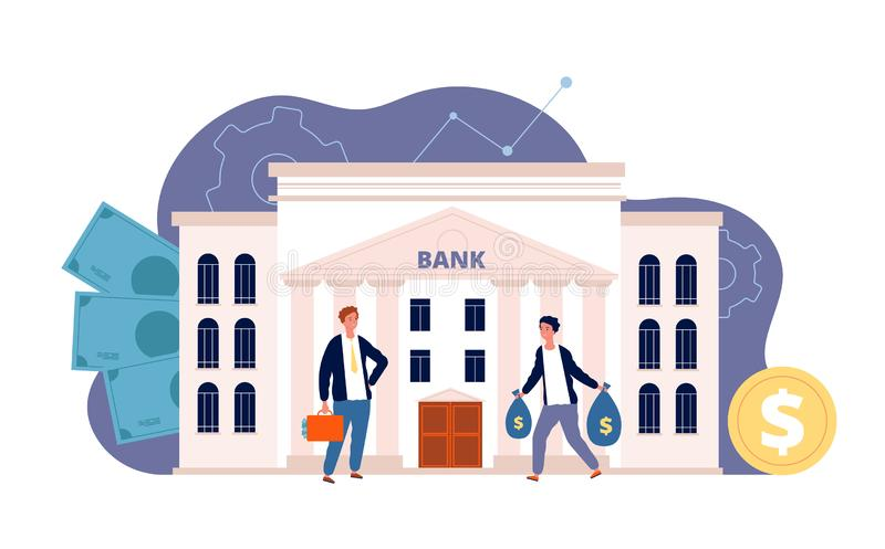 Bank with characters. Business finance building and people investing their money bank facade vector flat picture royalty free illustration