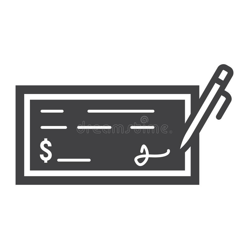 Bank check glyph icon, business and finance, pen vector illustration