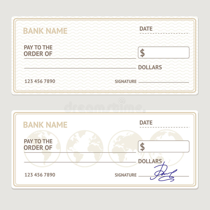 Bank Check Template Set. Vector Stock Vector - Image: 72867017