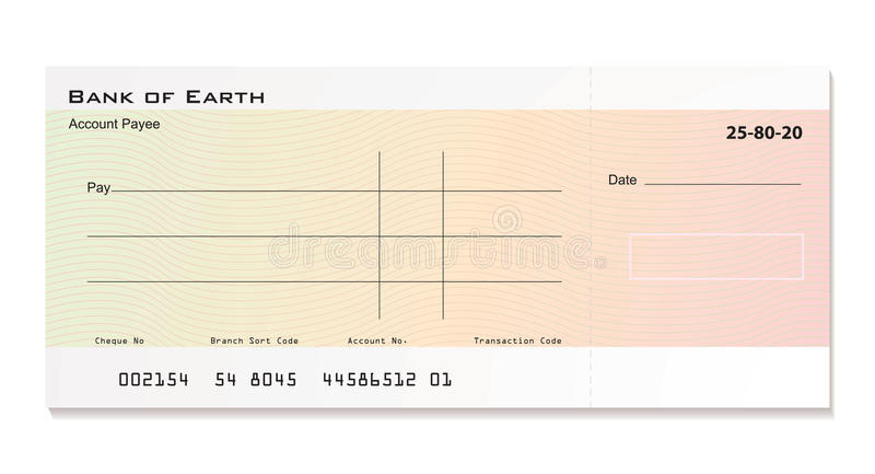 Bank cheque royalty free illustration
