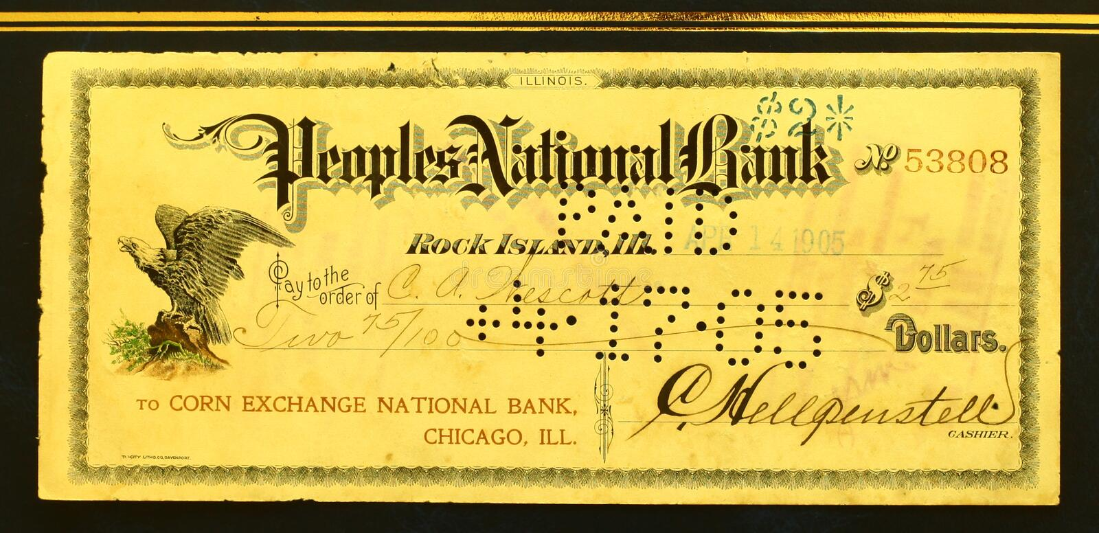 Bank cheque stock image