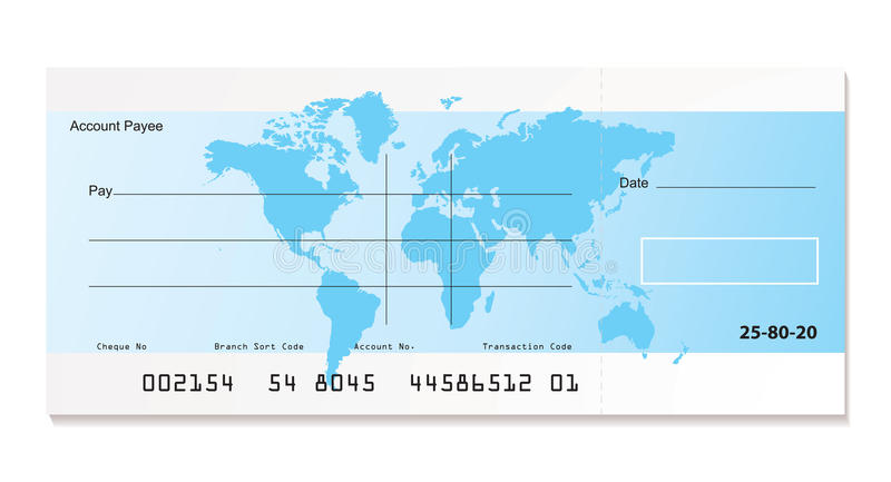 Bank cheque world. Illustrated bank cheque with world map and sample template