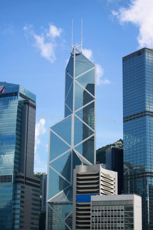 Bank of China commercial buildings in Hong Kong stock images