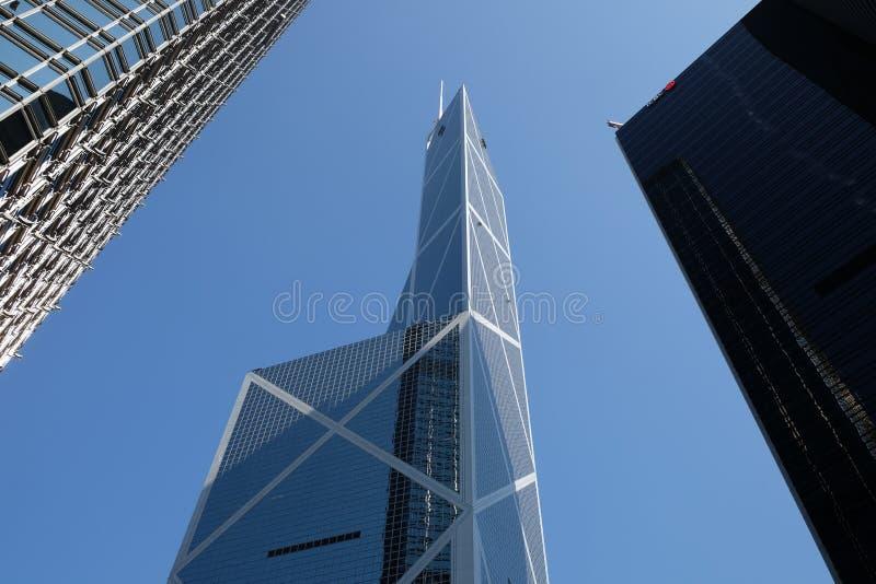 Bank of China Hong Kong. Under blue sky stock photo