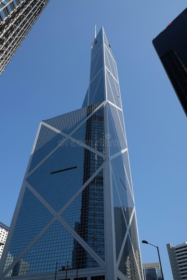 Bank of China Hong Kong. Under blue sky royalty free stock photo