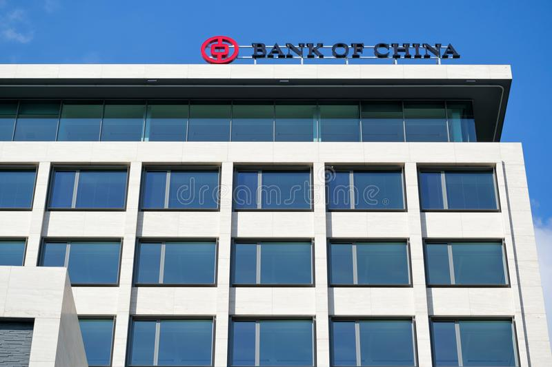 Bank of China sign at Rotterdam branch stock image